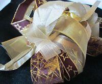 Christmas Ribbon Bundle - 10 Metres Of Assorted Gold Ribbons FREE UK POST