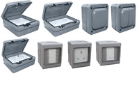 Outdoor weatherproof IP56 Sockets and switch IP66 1gang 2 gang RCD Bell push ESR