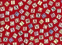 Michael Miller - FLOWER FAIRY FABRIC - Alphabet Fairies Letters Red 100% Cotton