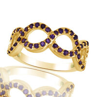 Amethyst Braided Engagement Band Ring 18K Yellow Gold Over Sterling Silver