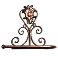 European Style Iron Toilet Roll Paper Holder Wall Mount Rack (Red copper) G1C1