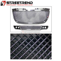 For 07-14 Yukon XL Denali Chrome Mesh Upper Hood+Lower Bumper Front Grill Grille
