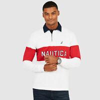 Nautica Mens Long Sleeve Colorblock Logo Classic Fit Polo