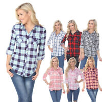 Women's Tops Roll Up Long Sleeve Flannel Plaid Shirt With Two Chest Pockets