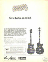 HAGSTROM GUITAR AD vintage 70's photo pinup electric