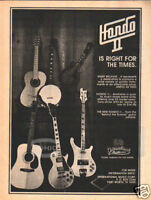 HONDO II GUITAR PINUP AD vintage 70's bass electric