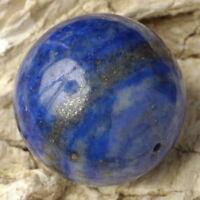 Natural Blue LAPIS LAZULI 20mm Round Feature BEAD ~ (B Grade)