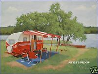 vintage shasta airstream nomad terry christmas travel trailer camper rv art ebay. Black Bedroom Furniture Sets. Home Design Ideas