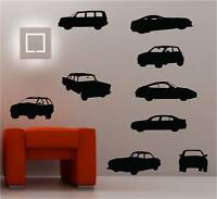 9 X CARS wall art sticker vinyl KIDS BEDROOM DECAL