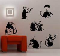 BANKSY STYLE RATS X 6  wall art sticker vinyl GRAFFITI