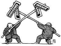 Rick Geary original comic art 'Battling Street Signs'