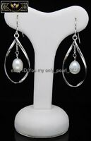 "MP"" Pretty 8-9mm AAA+ white dangle pearl earrings 925S"
