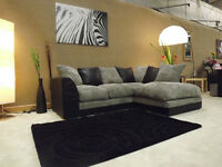 DYLAN JUMBO CORD BLACK & GREY FABRIC CORNER GROUP SOFA