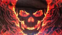 SKULL WITH FIRE FLAG 5X3 Pirate HEAVY METAL GOTH PUNK