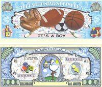 "It's A Boy ""One Million"" Dollar Bill $1,000,000"