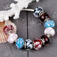 10P Colorful Lampwork Glass Big Hole European Beads For Charms Bracelet Snake