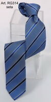 Cravate a rayures bleu 100% soie Made in Italy