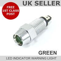 LED Chrome Dash Indicator Warning Light 12v *GREEN*