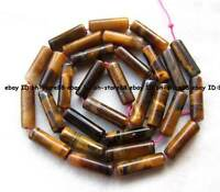natural color 4x13mm yellow Tiger Eye tube Beads 15'' high quality gemstone