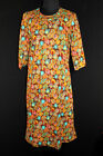 UNUSUAL DEADSTOCK VINTAGE 1950'S-60'S VIVID FEATHER COTTON PRINT DRESS SZ 10-12