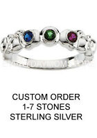 Mother's Family Jewelry, Mother's Birthstone Ring in Sterling Silver 1-7 Stones