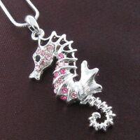 Animal Seahorse Costume Necklace Chain Pink Crystal Rhinestone Designer Pendant