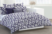 DKNY Flowering Willow FULL/QUEEN DUVET Cover & 2 Shams Set Indigo Navy 3 pcs NIP