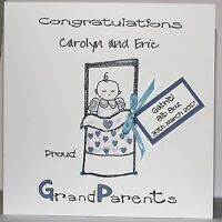 PERSONALISED  HANDMADE   GRANDPARENTS  NEW BABY BOY CARD       NEW