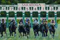 Out of the Gate by Rich Gabriel - Saratoga horse race track art sports print