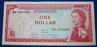SCARCE 1965 Eastern Caribbean States 1 Dollar Note Pick 13A AUNC