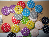 20 15mm  Resin Polka Dot Buttons  Cardmaking scrapbooking embellishment