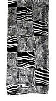 SCARF Black & White Unusual Abstract Animal Print Tiger Or ZEBRA BLOCKS