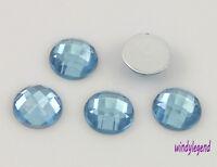 200 Pcs Light Blue Round Facets Acrylic Crystal Flatback Scrapbooking Craft 12mm