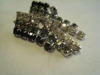 Vintage Black & Brilliant Crystal Glass Rhinestones Pierced Dangle Earrings