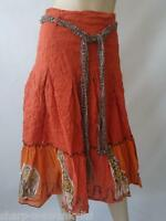 ☆♥ Ladies Orange Animal Detailed Belted Calf Length Midi Skirt UK 8 EU 36 ♥☆