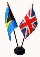 BAHAMAS & UNION JACK UK friendship table flag set with flags and base