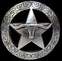 """Western Equestrian Cowboy Decor Raised Silver Longhorn Engraved Concho 1-1/2"""""""