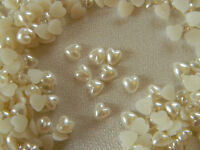 50 6mm  IVORY PEARL HEART SHAPED GEMS - Acrylic Flat Back -WEDDING/CRAFT