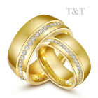 T&T 10mm 14K Gold GP Stainless Steel Comfort fit Wedding Band Ring For Couple