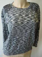 Ladies Black or Khaki & Cream Beaded Shoulder Jumper Top UK 12 14 EU 40 42