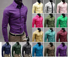 Mens Luxury Casual Slim Fit Stylish Solid Color Dress Shirts More than 17 Colour