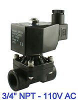 "3/4"" NPT Normally Closed Plastic Air Water Electric Solenoid Valve 110V AC"