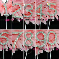 Crystal Clear  Rhinestone Diamante Number Cake Topper Cupcake Wedding Party
