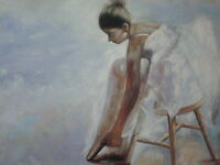 Ballerina Oil Painting 30x20 not poster or print. Abstract art Fine art Ballet
