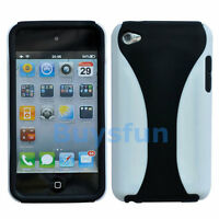 Black White 2-color Hard Cover Case Skin for Apple iPod TOUCH 4 4G 4TH GEN