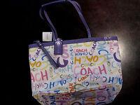 Authentic Coach Signature Stripe multi print shoulder handbag purse tote F19419