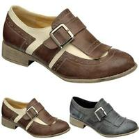 Ladies Womens Smart Formal Office Brogue Shoes Work Suit Vintage Loafers Size