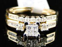WOMENS YELLOW GOLD PRINCESS CUT DIAMOND ENGAGEMENT BRIDAL WEDDING RING SET