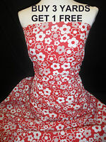 Flowers Red / white Flower Cotton print fabric material dress-making crafts