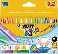 BIC 12 JUMBO PLASTIC TRIANGULAR ASSORTED COLORS WAX CRAYONS EXTRA CLEAN  1YEAR +